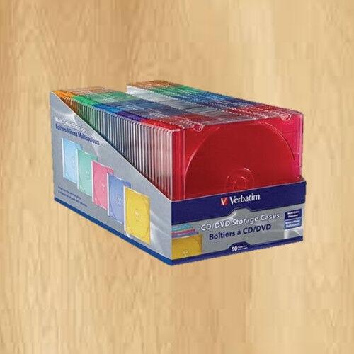 Verbatim 50 Pack CD/DVD Color Slim Jewel Cases,Plastic Assor