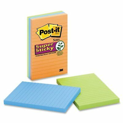 Post-it Super Sticky Electric Glow Lined Notes - Self-adhesive - 4 X 6 -