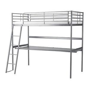 Lit mezzanine gris argent simple jumeau plateau bureau SVARTA