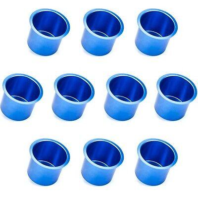 Poker Cup Holders - 10 PC Jumbo Blue Vivid Aluminum Drop In Drink Custom Poker Table Cup Holders