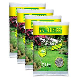 Rasendünger mit Eisen 30 kg (4x7,5kg) Eisendünger Langzeitdünger Moosvernichter