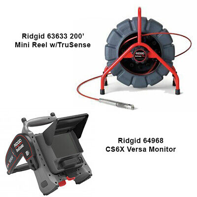 Ridgid 200 Mini Reel With Trusense 63633 Cs6x Versa Monitor 64968
