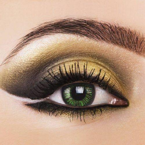 Farbige grüne Kontaktlinsen mit ohne Stärke weich grün farbig Monatslinsen SALE%