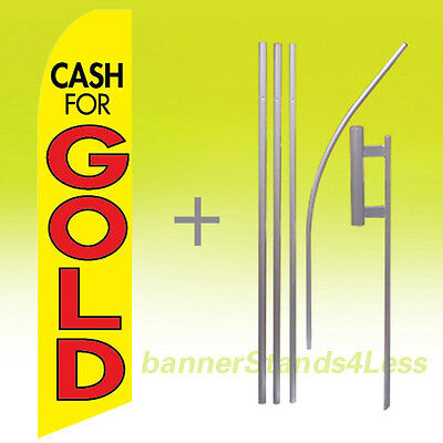 Cash For Gold - Swooper Flag Kit Feather Flutter Banner Sign 15 Tall - Yb