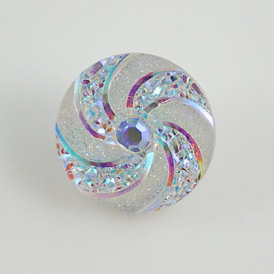 Snap Button Jewelry ((>Snap.Chunk Button 20mm White Swirl Charm For Ginger Snap Style)
