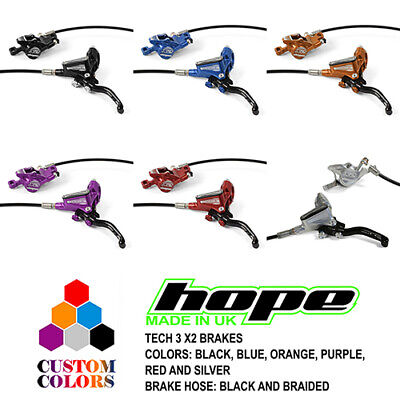 Hope Tech 3 X2 XC Brakes - Black / Braided Hose - All Colors - Brand New