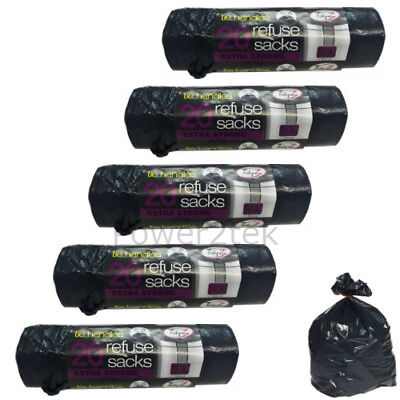 100 x Extra Strong Black 50 Litre Tie Handle Refuse Sacks Waste Bags Bin Liners