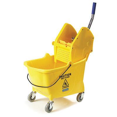 Carlisle 3690504 26-35 Qt. Mop Bucket Wdown-press Wringer 4 Casters