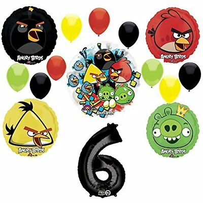 Angry Birds 6th Birthday Party Supplies and Group See-Thru Balloon Decorations - Angry Bird Birthday Supplies
