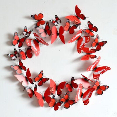 12Pcs Red Pretty DIY 3D Butterfly Wall Sticker Home Decor Art Room Decoration