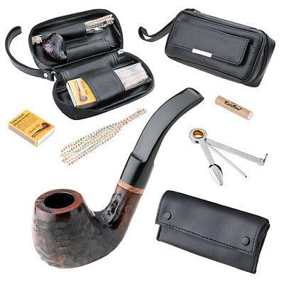 Tabak Pfeife Set Holzpfeife Einsteigerset Bruyere Braun im schwarzen Lederetui