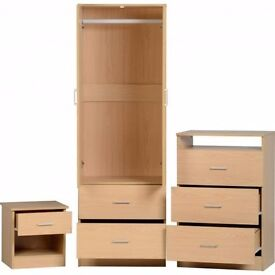 Very nice Brand New bedroom furniture wardrobe 3 piece set in beech. delivery available