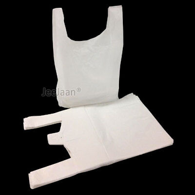100 x WHITE PLASTIC VEST CARRIER BAGS 12