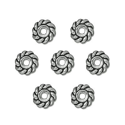 HEISHE TWIST SPACER JEWELRY BEAD SILVER COLOR PEWTER 25 BEADS 4MM PW9