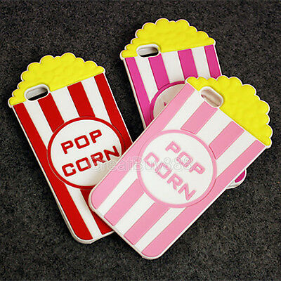 Cute Popcorn (3D Cute POPCORN Cartoon Rubber Silicone Soft Case Cover for iPhone 5S 6 6S)