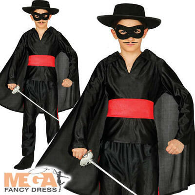 Masked Bandit Boys Fancy Dress Zorro Kids World Book Day National Dress Costume - Zorro Dress