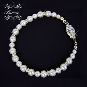 Swarovski Crystal & White Pearl Graduated Bracelet Wedding Bridal Bridesmaid