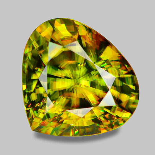 12.70CTS WONDERFUL PEAR CUT NATURAL CHARTUESE GREEN SPHENE VIDEO IN DESCRIPTION