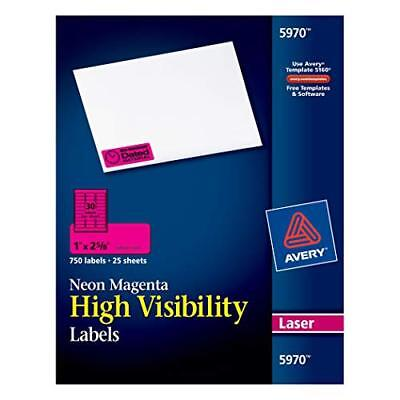"""Avery Neon Laser Labels, Rectangle, 1"""" x 2-5/8, Fluorescent Magenta, 750/Pack (5"""