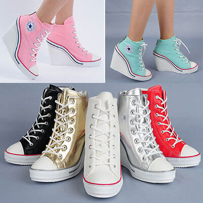 Wedges Trainers Heels Sneakers Platform High Hi Top Ankles Lace Ups Zip Boots