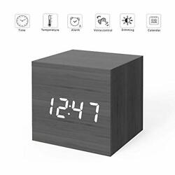 MiCar Digital Alarm Clock, Wood LED Light Mini Modern Cube Desk Alarm Clock Disp
