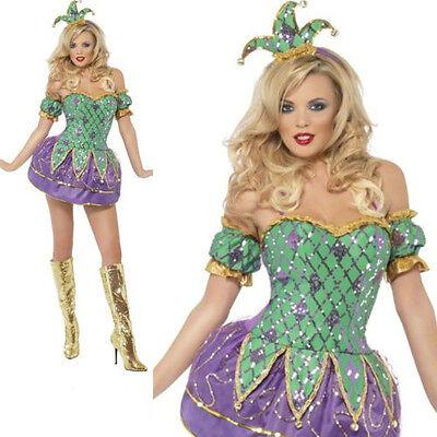 Damen Harlekin Glanz Jester Clown Kostüm Verkleidung Erwachsener Reiz Party