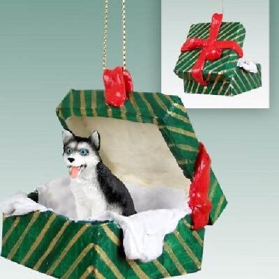 HUSKY B&W BLUE EYE Christmas GREEN GIFT BOX Ornament HAND PAINTED FIGURINE dog