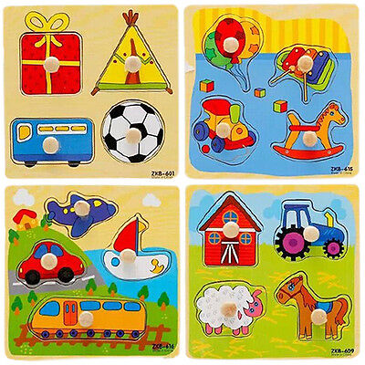Baby Toddler Intelligence Development Animal Wooden Brick Puzzle Toy Classic New