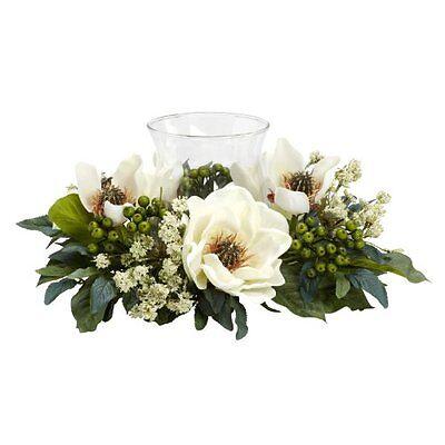Nearly Natural 4794 Magnolia Candelabrum Silk Flower Arrangement