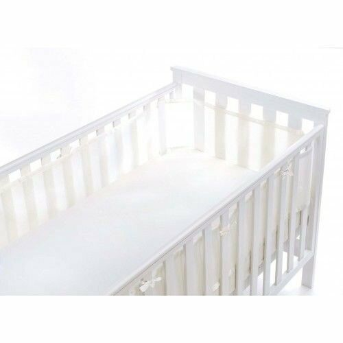 BREATHABLE BABY COT MESH 4 SIDED WHITE MIST - NEW