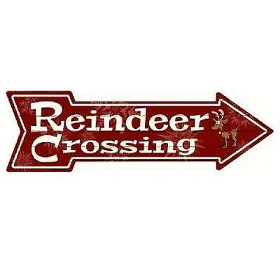 Indoor Reindeer (Outdoor/Indoor Christmas Reindeer Crossing Novelty Metal Arrow Sign 5