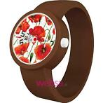 O Clock Digital Flowers Red / Chocolate