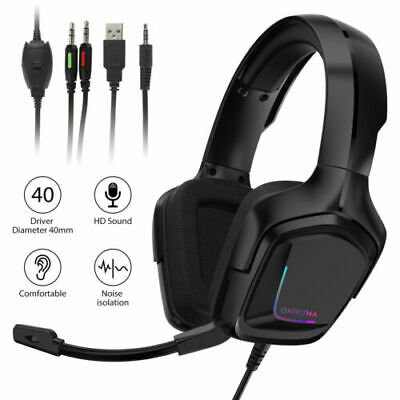 K20 Gaming Headset For PC PS4 PS5 Xbox one Headphone W/ Mic RGB Surround Sound