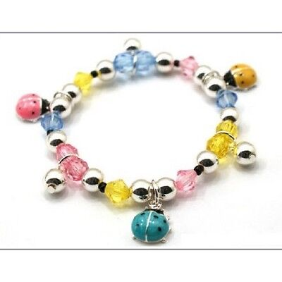 Childrens Multi-Color Beaded Stretch Bracelet W Ladybug Charms