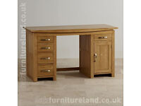 OAK FURNITURE LAND SOLID OAK COMPUTER DESK