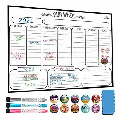 Magnetic Weekly Dry Erase Board Calendar Whiteboard - 16 X 12 New White