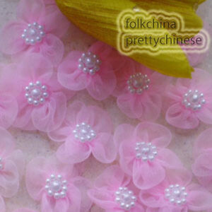 Pink-Soft-Organza-Flower-With-Cluster-Beads-Sewing-Scrapbooking-Appliques-JM9O