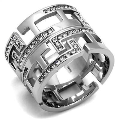 Fun Geometric Cigar Band Pave Set Crystals Stainless Steel Ring  Size 5-10 (Band Fun)