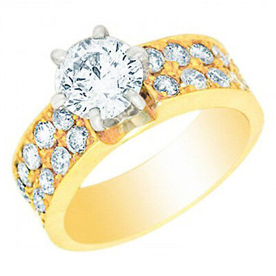 GIA Certified Diamond Engagement Ring 2.00 CTW Round Brilliant 18k Gold