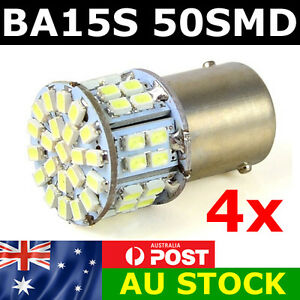 4 x BA15S 50 SMD LED - BRIGHT WHITE 1156 Brake Reverse Light Bulb Globe Lamp 12v