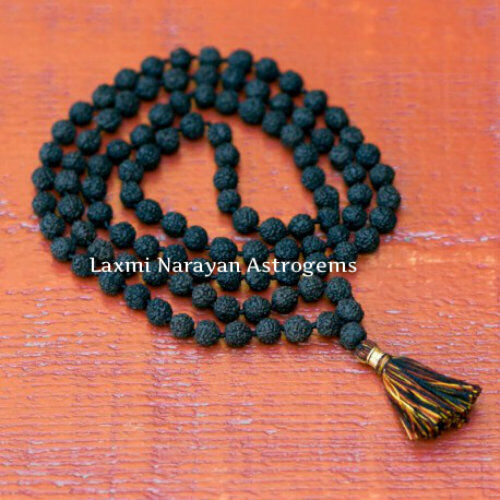 Rare Non Dye Original Black Rudraksha Mala 108 + 1 Beads  7 Mm Size Necklace