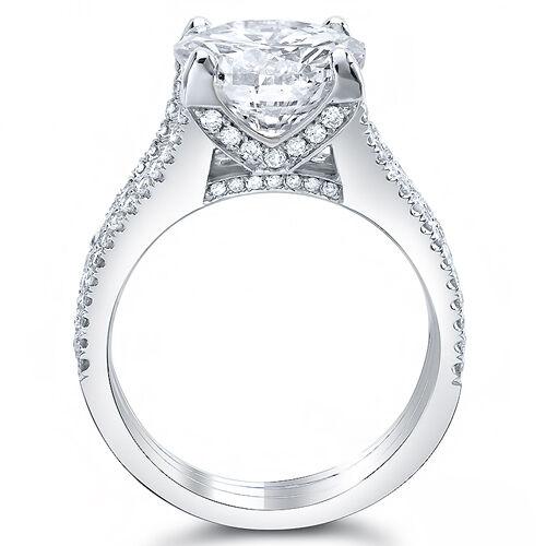 3.25 Ct. Princess Cut Diamond Engagement Ring w/ Round Pave I,VS2 GIA 14K Gold 1
