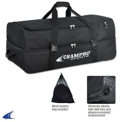 Equipment Wheel Bag - Champro Sports Catcher/Umpire Equipment Bag with Wheels (Black)