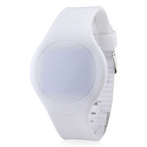 Unique Touch Screen Red LED Digital Round Rubber Band Wrist Watch for Men Women