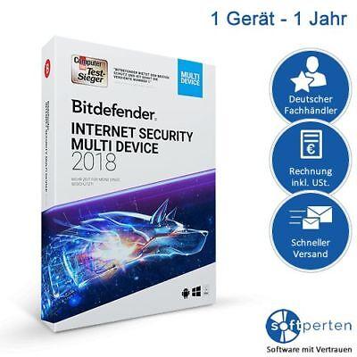 Bitdefender Internet Security 2018 Multi-Device, 1 Gerät - 1 Jahr, Deutsch, ESD,