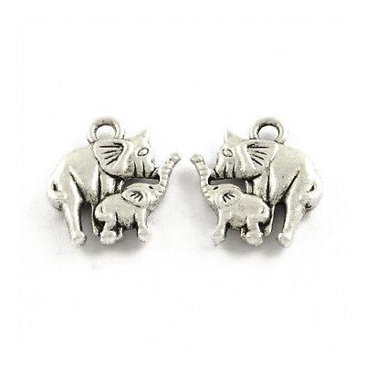 Packet 20 x Antique Silver Tibetan 15mm Elephant Charm/Pendant ZX16050