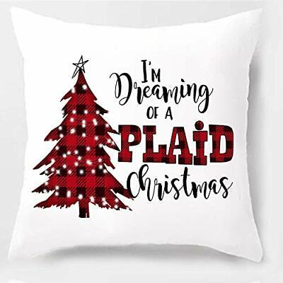 "I'm Dreaming of a Plaid Christmas Throw Pillow Cover 18"" x 18"""