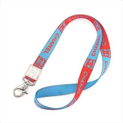 Chanel Neck strap Red Blue Nylon Woman unisex Authentic Used T7452