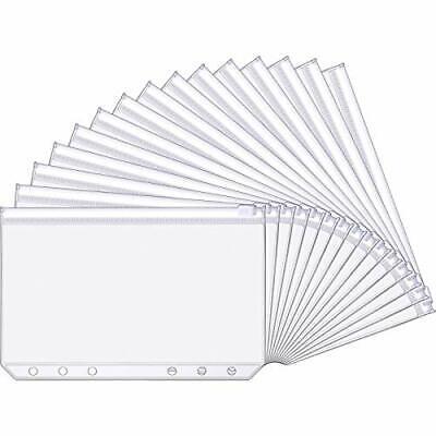 15 Pieces A6 Size 6 Holes Binder Pockets Plastic Binder Zipper Folders 6 Holes
