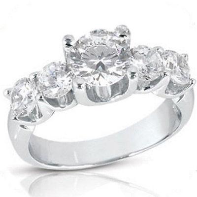 2.62 carat, 5 Round Diamond Engagement Wedding Band 18K White Gold Ring SI1
